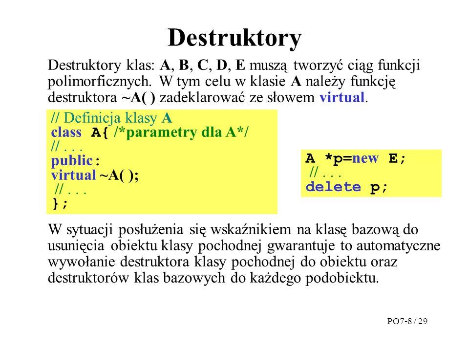 Destruktory Destruktory klas: A, B, C, D, E muszą tworzyć ciąg funkcji polimorficznych.