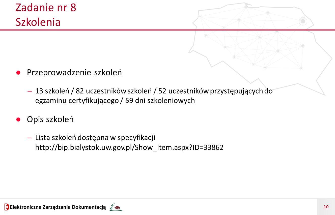 10 Zadanie nr 8 Szkolenia ● Przeprowadzenie szkoleń – 13 szkoleń / 82 uczestników szkoleń / 52 uczestników przystępujących do egzaminu certyfikującego / 59 dni szkoleniowych ● Opis szkoleń – Lista szkoleń dostępna w specyfikacji http://bip.bialystok.uw.gov.pl/Show_Item.aspx?ID=33862