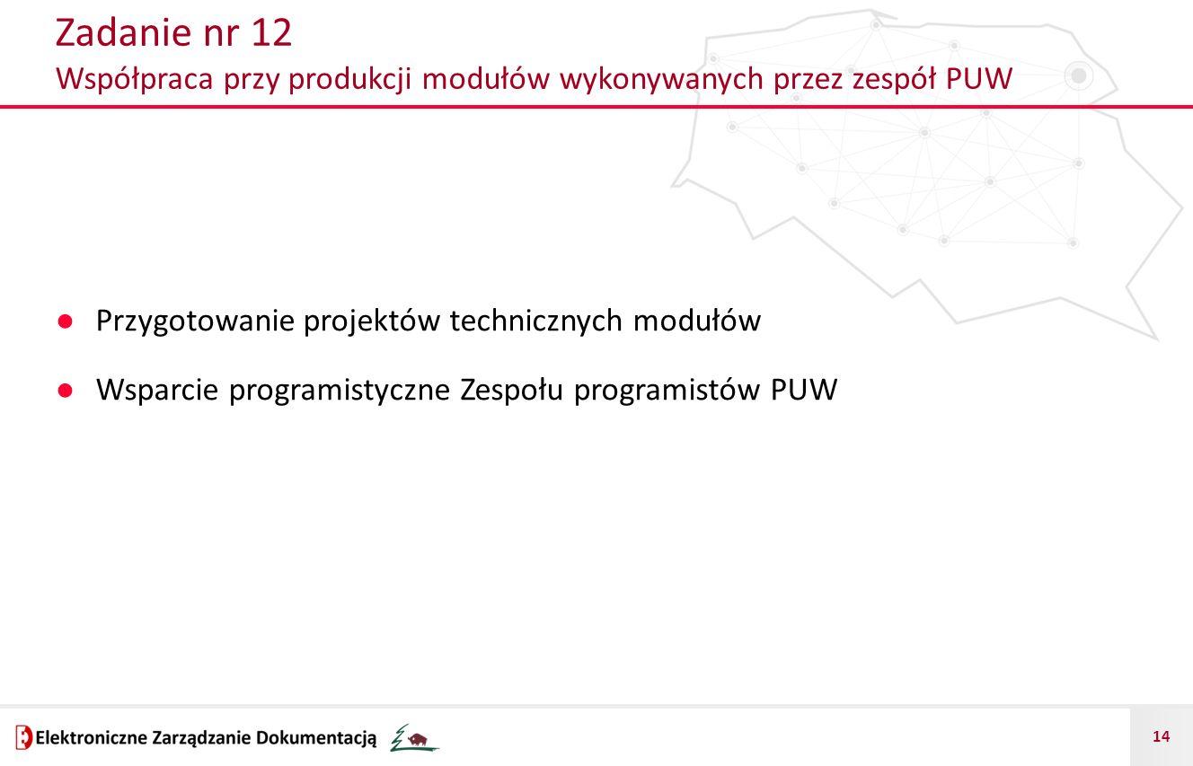 14 Zadanie nr 12 Współpraca przy produkcji modułów wykonywanych przez zespół PUW ● Przygotowanie projektów technicznych modułów ● Wsparcie programisty