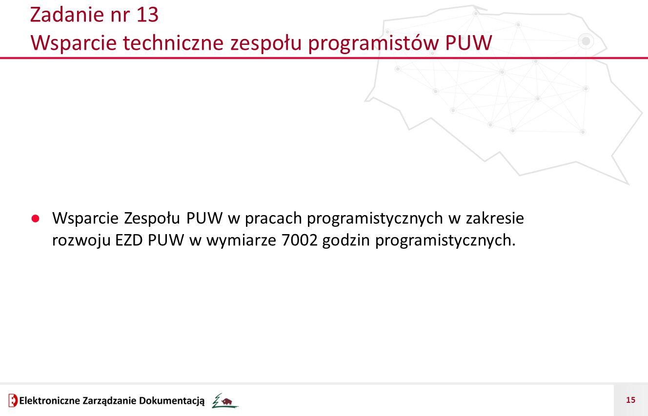 15 Zadanie nr 13 Wsparcie techniczne zespołu programistów PUW ● Wsparcie Zespołu PUW w pracach programistycznych w zakresie rozwoju EZD PUW w wymiarze
