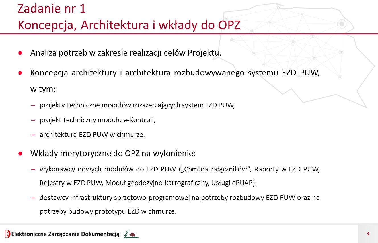 3 Zadanie nr 1 Koncepcja, Architektura i wkłady do OPZ ● Analiza potrzeb w zakresie realizacji celów Projektu. ● Koncepcja architektury i architektura