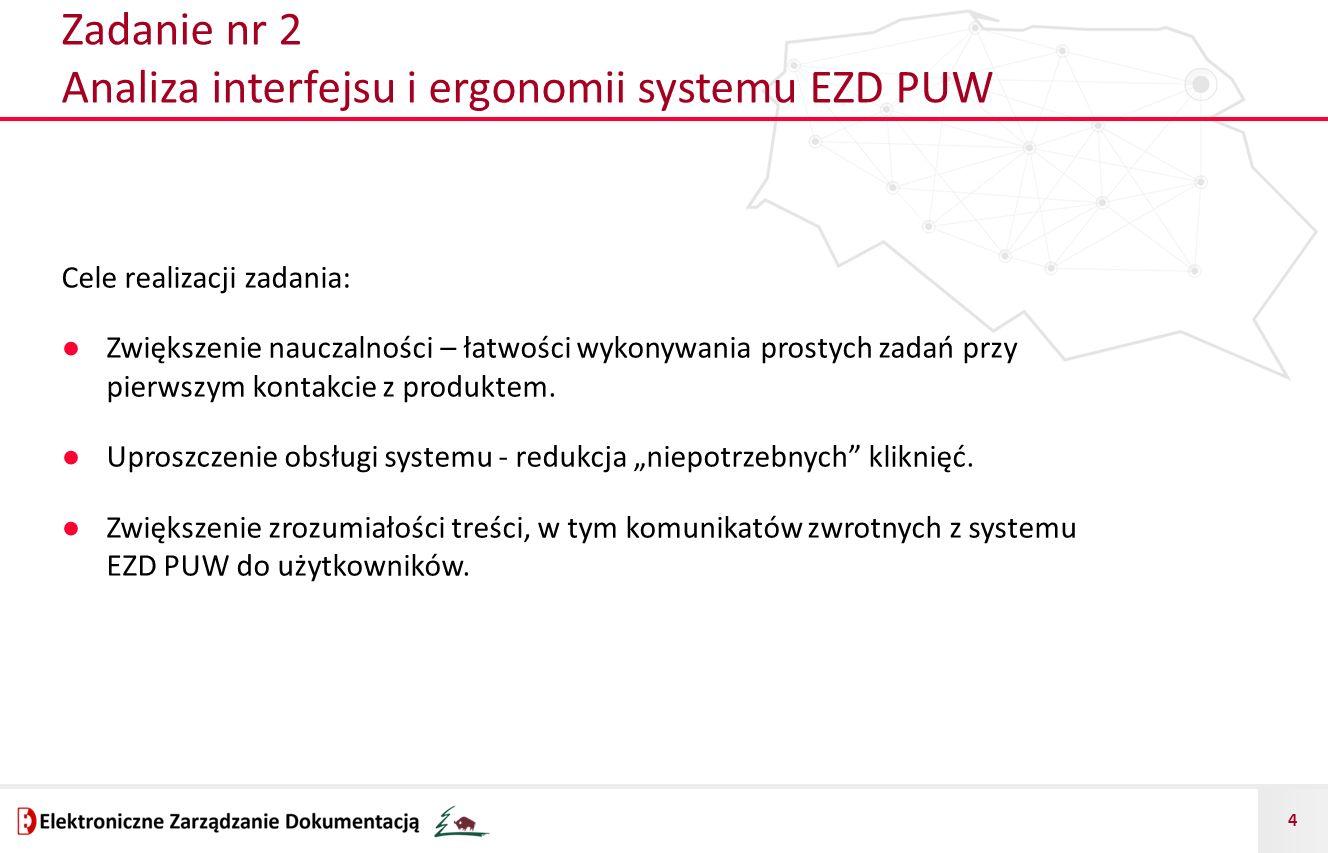 4 Zadanie nr 2 Analiza interfejsu i ergonomii systemu EZD PUW Cele realizacji zadania: ● Zwiększenie nauczalności – łatwości wykonywania prostych zada