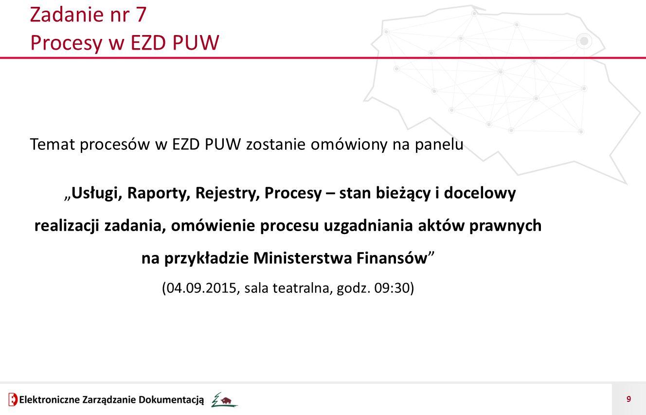 """9 Zadanie nr 7 Procesy w EZD PUW Temat procesów w EZD PUW zostanie omówiony na panelu """"Usługi, Raporty, Rejestry, Procesy – stan bieżący i docelowy re"""