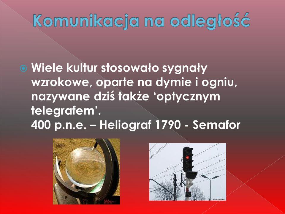  Wiele kultur stosowało sygnały wzrokowe, oparte na dymie i ogniu, nazywane dziś także 'optycznym telegrafem'. 400 p.n.e. – Heliograf 1790 - Semafor