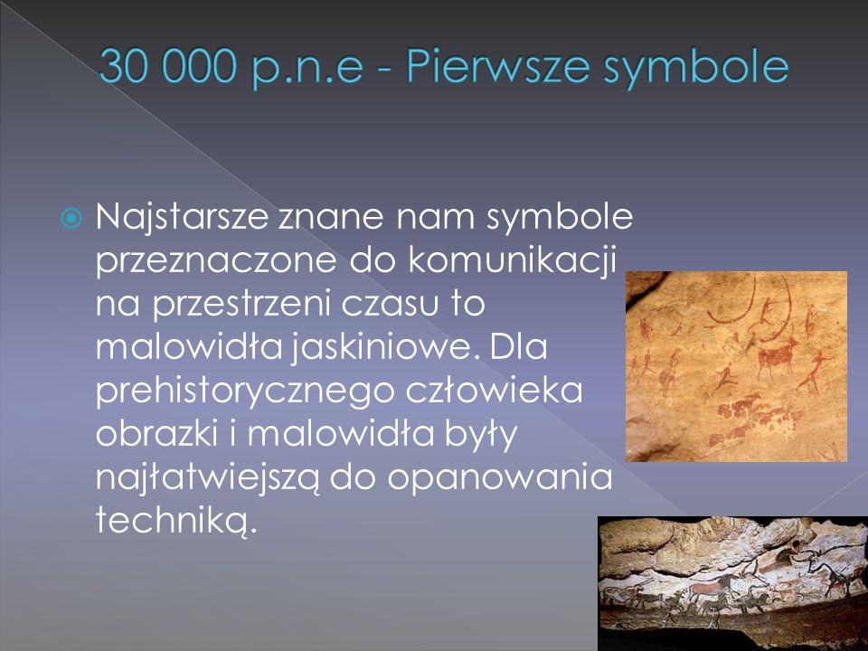  Najstarsze znane nam symbole przeznaczone do komunikacji na przestrzeni czasu to malowidła jaskiniowe. Dla prehistorycznego człowieka obrazki i malo