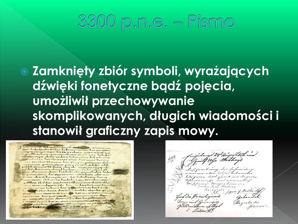  Zamknięty zbiór symboli, wyrażających dźwięki fonetyczne bądź pojęcia, umożliwił przechowywanie skomplikowanych, długich wiadomości i stanowił grafi