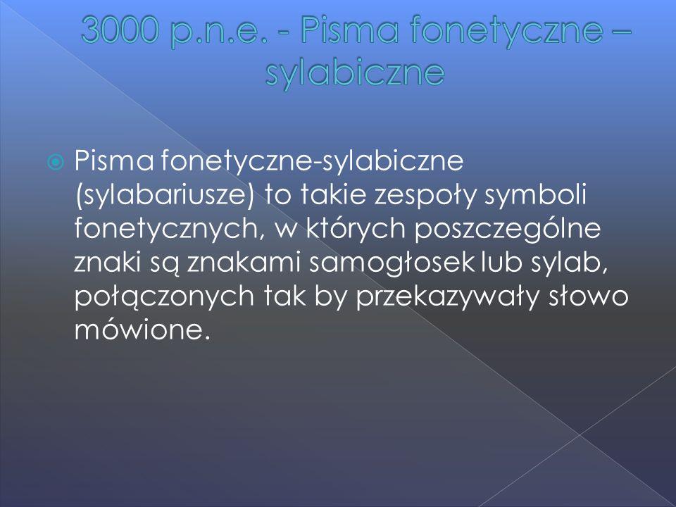  Pisma fonetyczne-sylabiczne (sylabariusze) to takie zespoły symboli fonetycznych, w których poszczególne znaki są znakami samogłosek lub sylab, połą