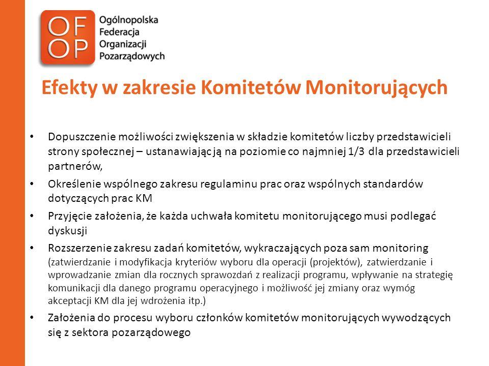 Efekty w zakresie Komitetów Monitorujących Dopuszczenie możliwości zwiększenia w składzie komitetów liczby przedstawicieli strony społecznej – ustanawiając ją na poziomie co najmniej 1/3 dla przedstawicieli partnerów, Określenie wspólnego zakresu regulaminu prac oraz wspólnych standardów dotyczących prac KM Przyjęcie założenia, że każda uchwała komitetu monitorującego musi podlegać dyskusji Rozszerzenie zakresu zadań komitetów, wykraczających poza sam monitoring (zatwierdzanie i modyfikacja kryteriów wyboru dla operacji (projektów), zatwierdzanie i wprowadzanie zmian dla rocznych sprawozdań z realizacji programu, wpływanie na strategię komunikacji dla danego programu operacyjnego i możliwość jej zmiany oraz wymóg akceptacji KM dla jej wdrożenia itp.) Założenia do procesu wyboru członków komitetów monitorujących wywodzących się z sektora pozarządowego