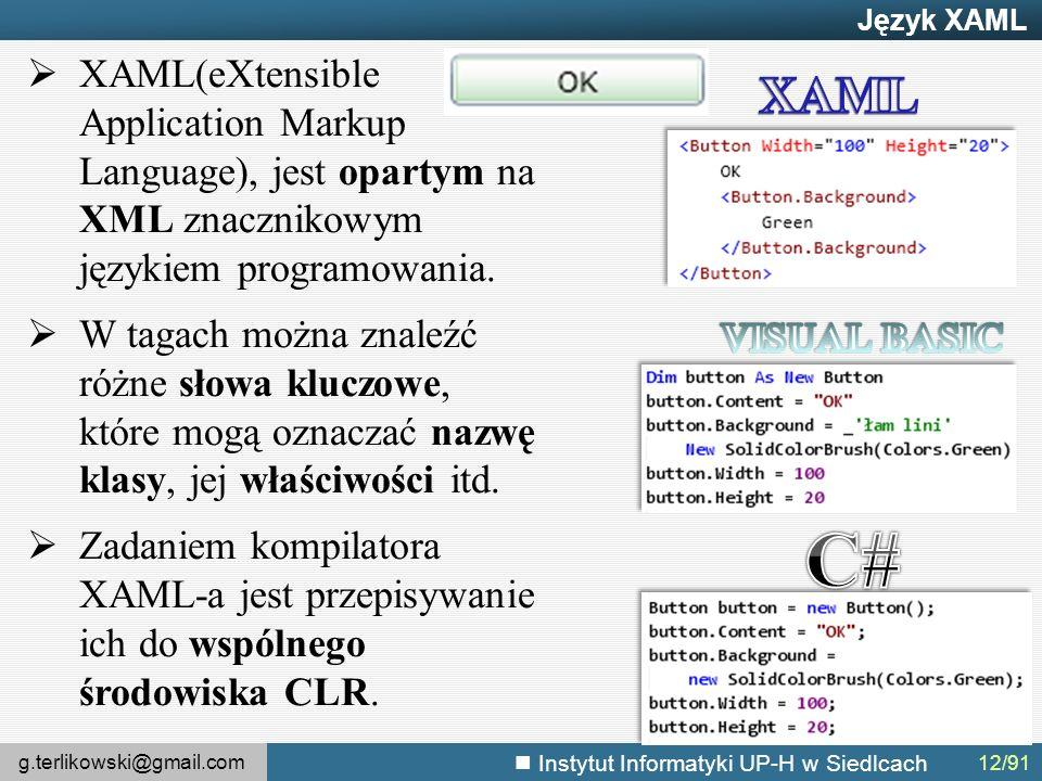 g.terlikowski@gmail.com Instytut Informatyki UP-H w Siedlcach Język XAML  XAML(eXtensible Application Markup Language), jest opartym na XML znacznikowym językiem programowania.