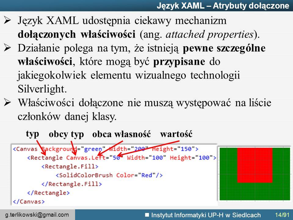 g.terlikowski@gmail.com Instytut Informatyki UP-H w Siedlcach Język XAML – Atrybuty dołączone  Język XAML udostępnia ciekawy mechanizm dołączonych właściwości (ang.