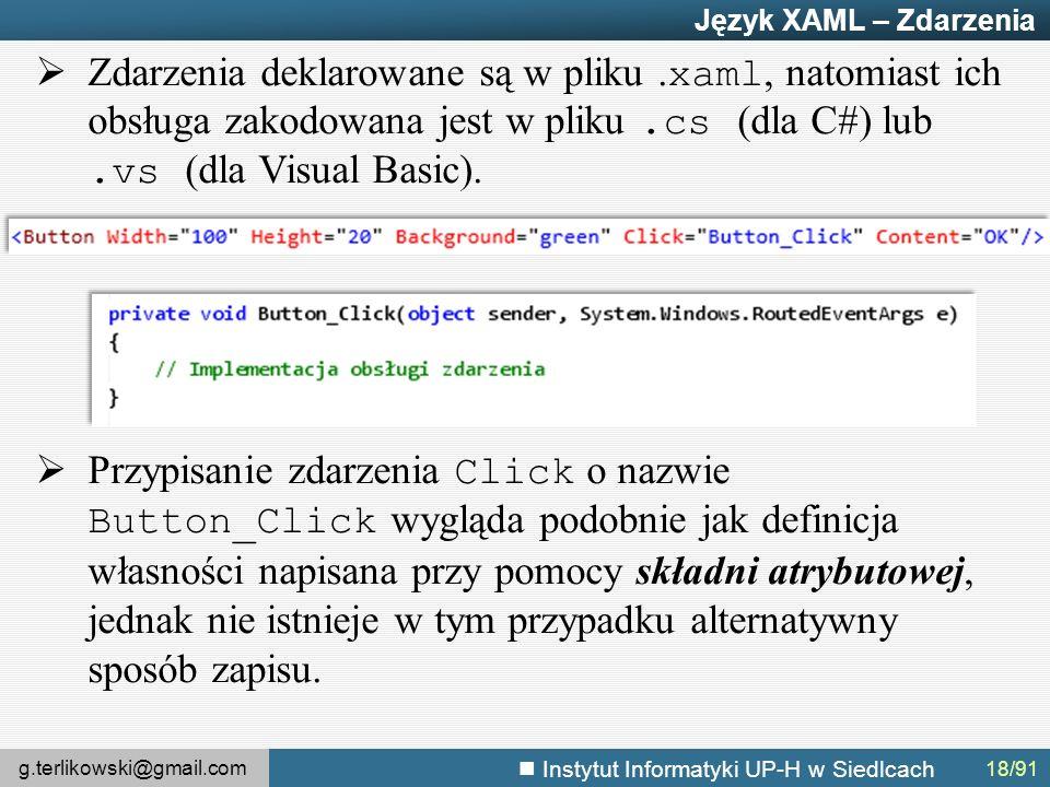 g.terlikowski@gmail.com Instytut Informatyki UP-H w Siedlcach Język XAML – Zdarzenia  Zdarzenia deklarowane są w pliku.