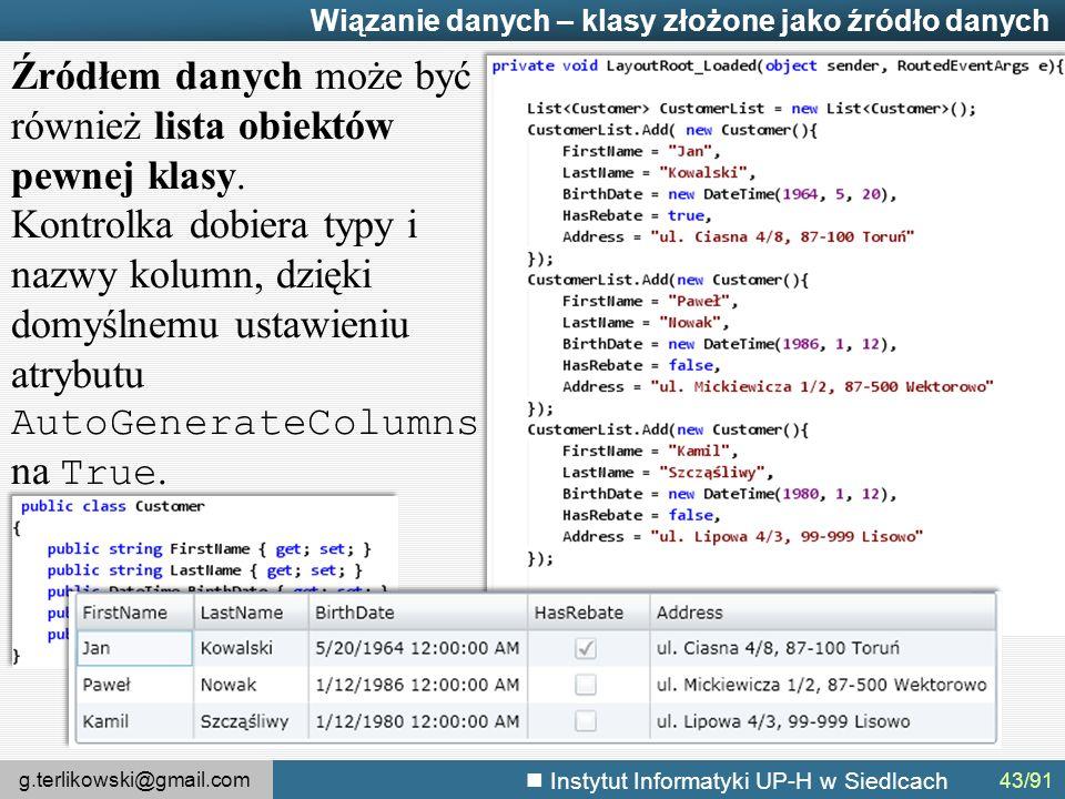 g.terlikowski@gmail.com Instytut Informatyki UP-H w Siedlcach Wiązanie danych – klasy złożone jako źródło danych Źródłem danych może być również lista obiektów pewnej klasy.