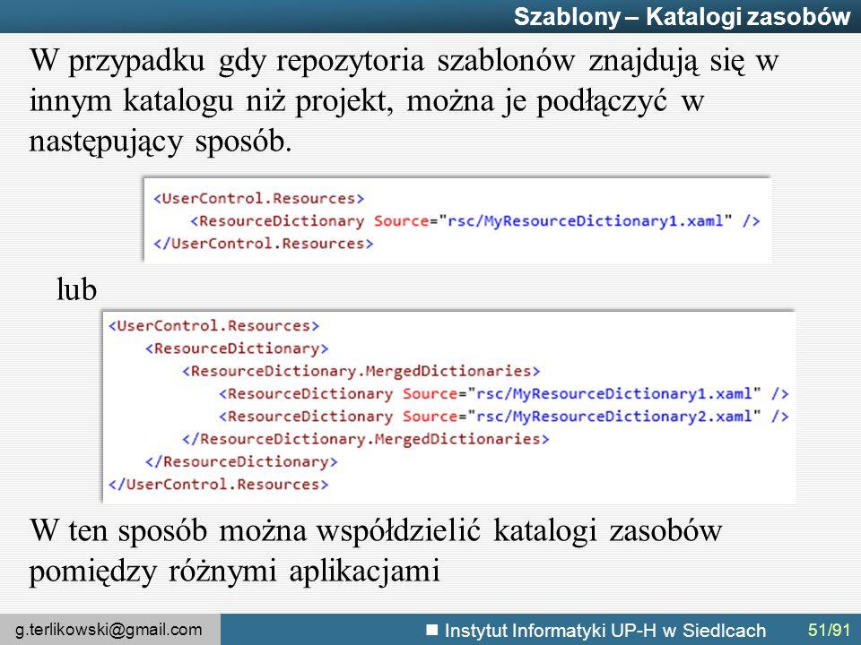 g.terlikowski@gmail.com Instytut Informatyki UP-H w Siedlcach Szablony – Katalogi zasobów W przypadku gdy repozytoria szablonów znajdują się w innym katalogu niż projekt, można je podłączyć w następujący sposób.