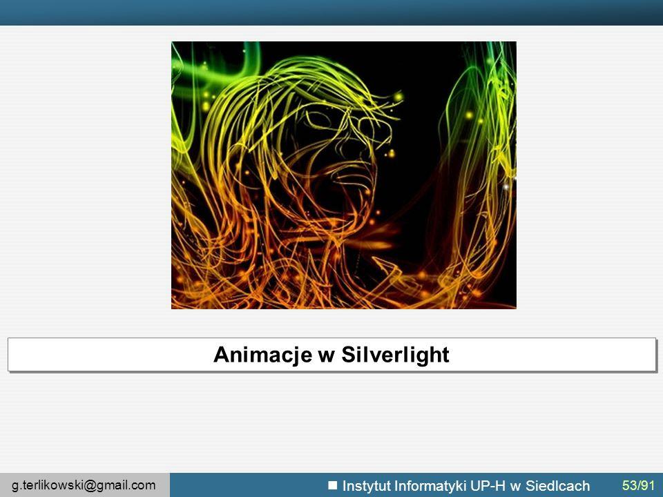 g.terlikowski@gmail.com Instytut Informatyki UP-H w Siedlcach Animacje w Silverlight 53/91