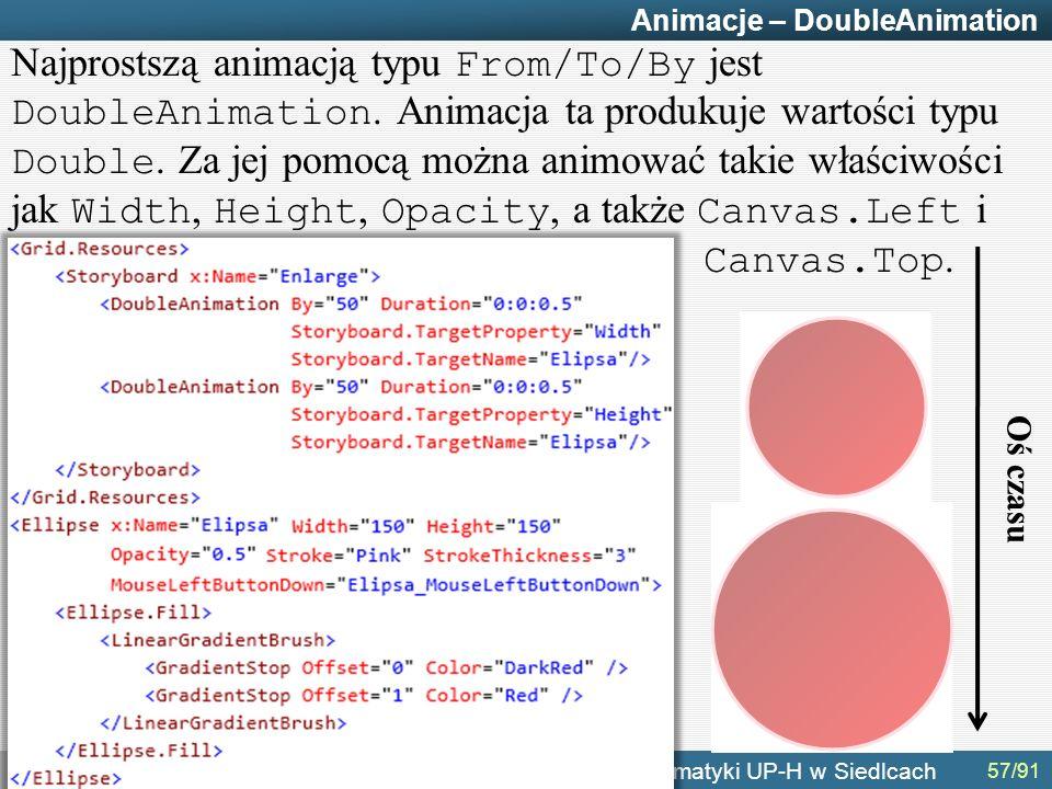 g.terlikowski@gmail.com Instytut Informatyki UP-H w Siedlcach Animacje – DoubleAnimation Najprostszą animacją typu From/To/By jest DoubleAnimation.