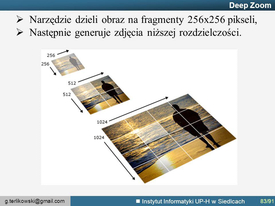 g.terlikowski@gmail.com Instytut Informatyki UP-H w Siedlcach Deep Zoom  Narzędzie dzieli obraz na fragmenty 256x256 pikseli,  Następnie generuje zdjęcia niższej rozdzielczości.