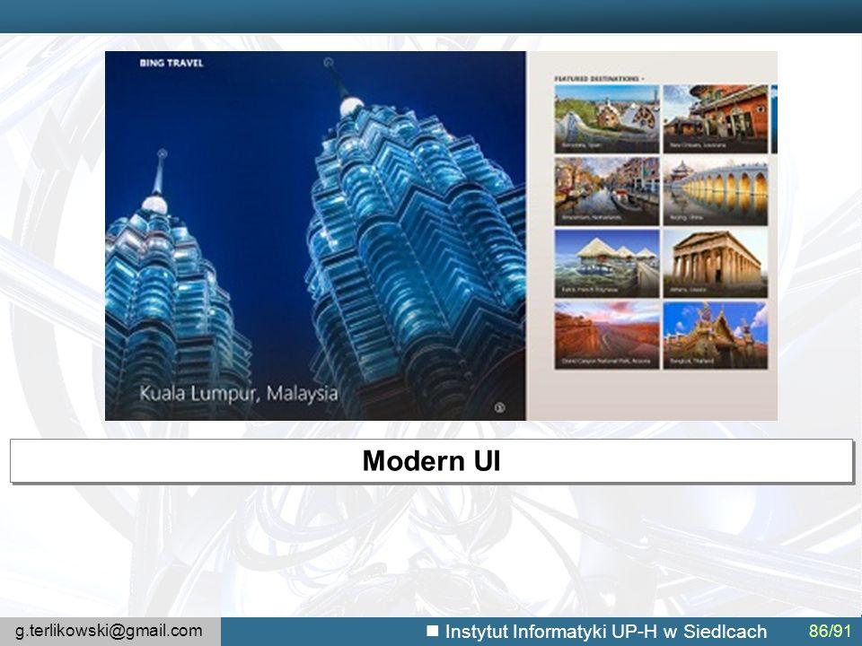 g.terlikowski@gmail.com Instytut Informatyki UP-H w Siedlcach 86/91 Modern UI