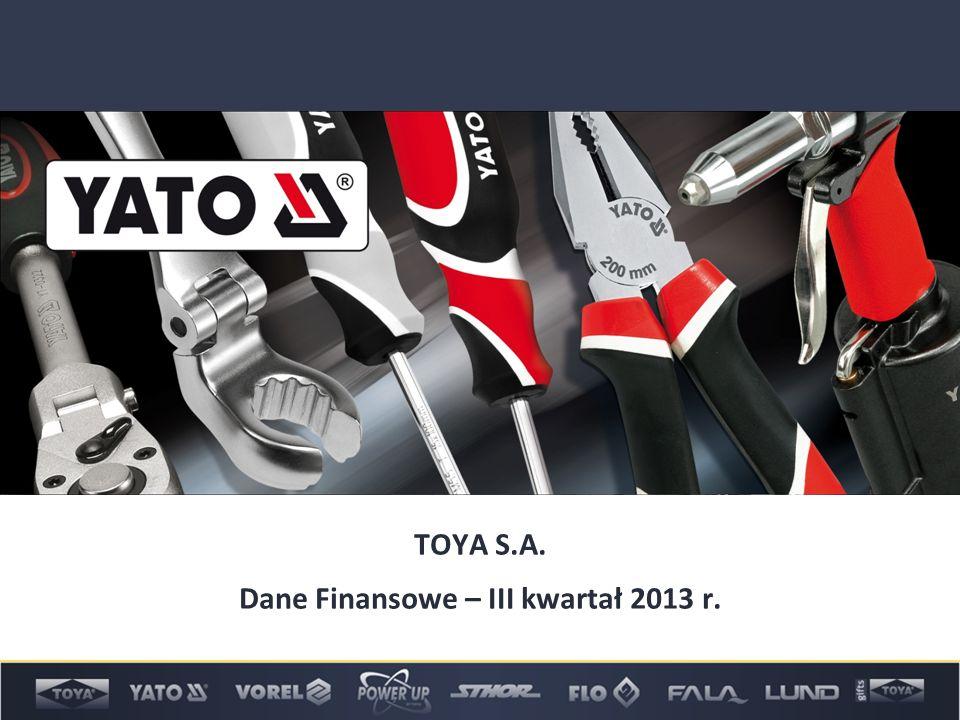 TOYA S.A. Dane Finansowe – III kwartał 2013 r.