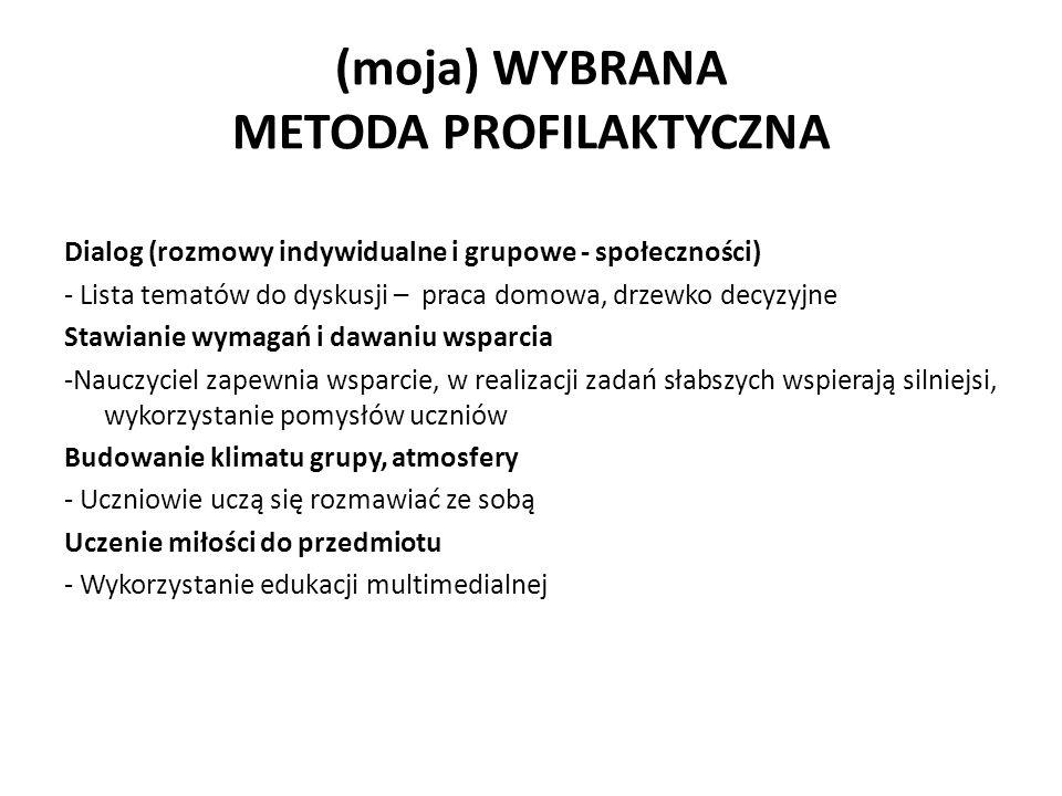 (moja) WYBRANA METODA PROFILAKTYCZNA Dialog (rozmowy indywidualne i grupowe - społeczności) - Lista tematów do dyskusji – praca domowa, drzewko decyzy