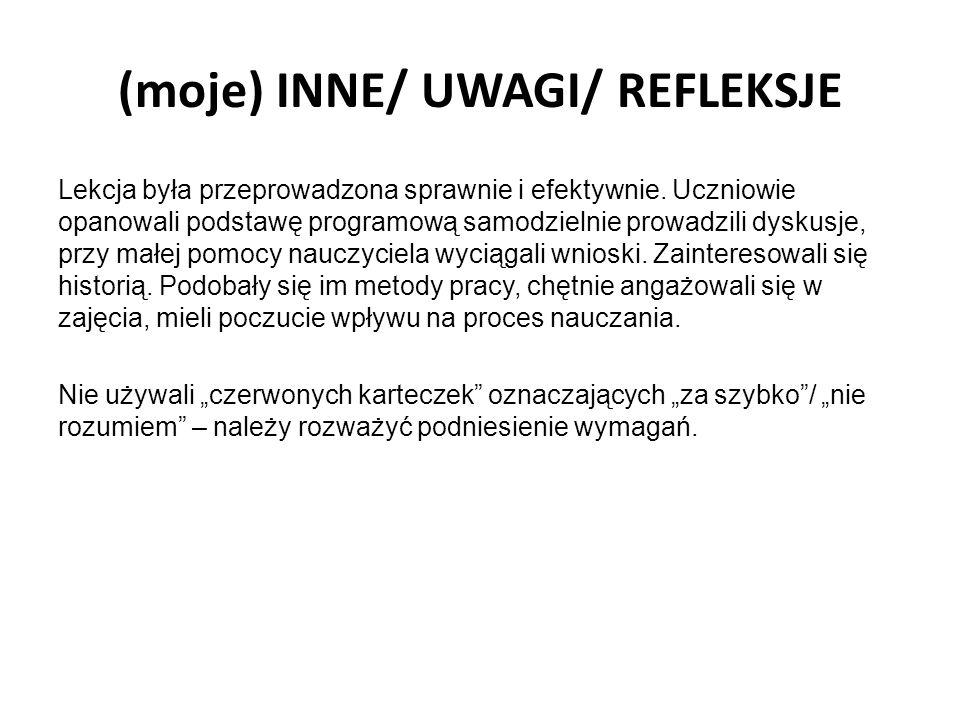 (moje) INNE/ UWAGI/ REFLEKSJE Lekcja była przeprowadzona sprawnie i efektywnie. Uczniowie opanowali podstawę programową samodzielnie prowadzili dyskus