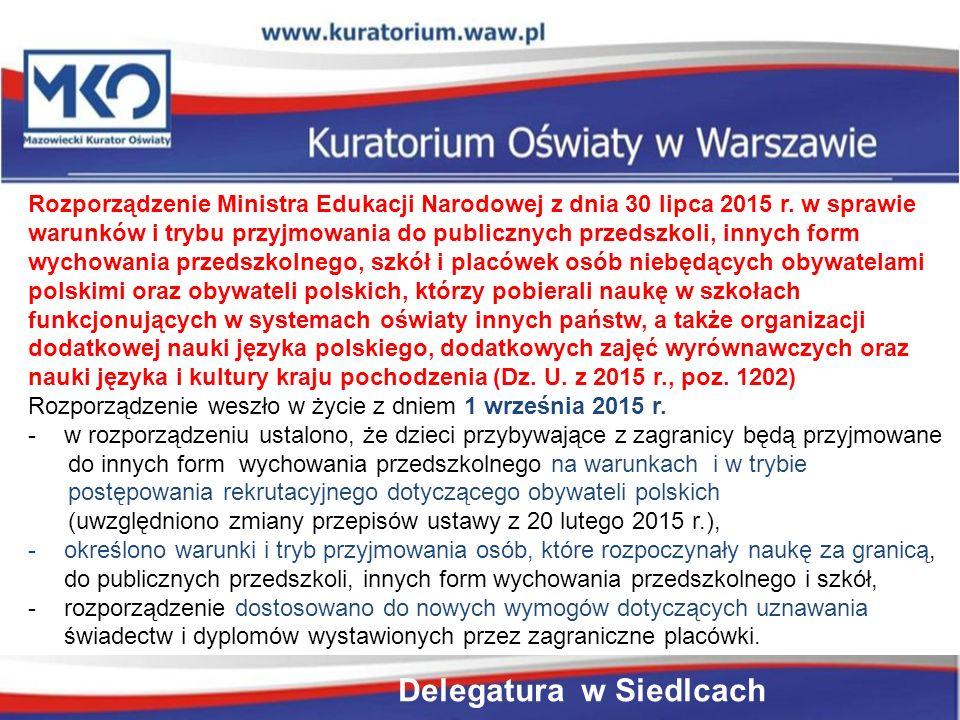 Rozporządzenie Ministra Edukacji Narodowej z dnia 30 lipca 2015 r.