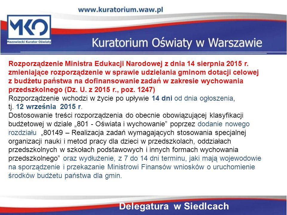 Rozporządzenie Ministra Edukacji Narodowej z dnia 14 sierpnia 2015 r.