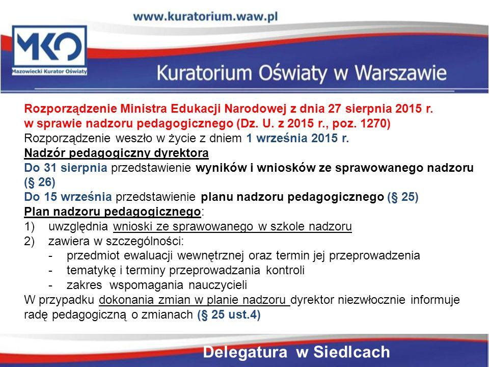Rozporządzenie Ministra Edukacji Narodowej z dnia 27 sierpnia 2015 r.