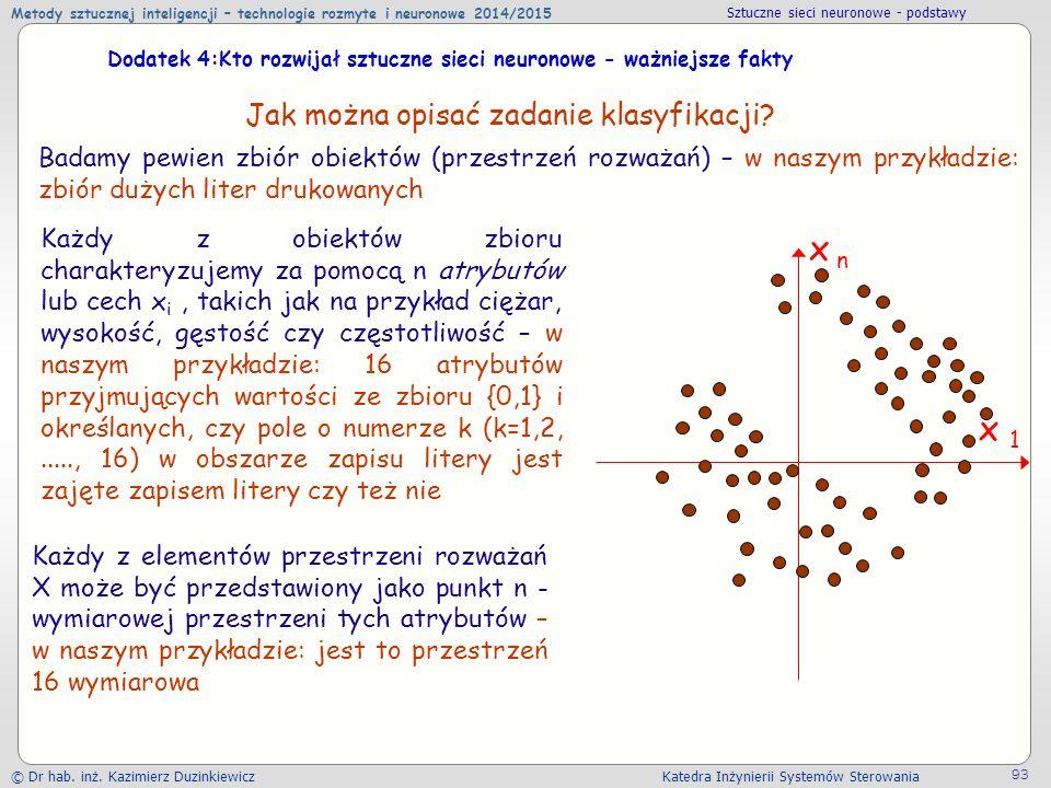 Metody sztucznej inteligencji – technologie rozmyte i neuronowe 2014/2015 Sztuczne sieci neuronowe - podstawy © Dr hab.
