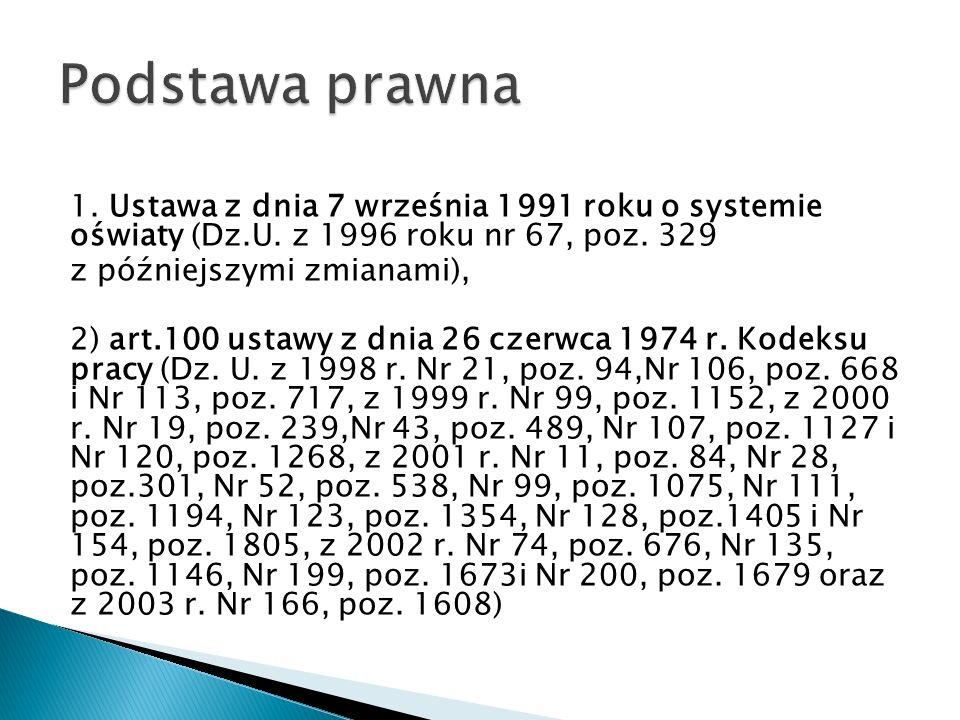 1. Ustawa z dnia 7 września 1991 roku o systemie oświaty (Dz.U. z 1996 roku nr 67, poz. 329 z późniejszymi zmianami), 2) art.100 ustawy z dnia 26 czer