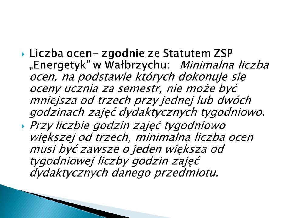 """ Liczba ocen- zgodnie ze Statutem ZSP """"Energetyk"""" w Wałbrzychu: Minimalna liczba ocen, na podstawie których dokonuje się oceny ucznia za semestr, nie"""