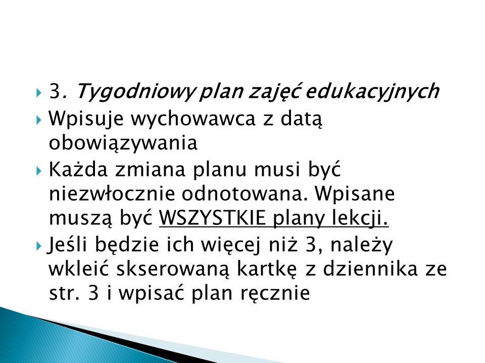  3. Tygodniowy plan zajęć edukacyjnych  Wpisuje wychowawca z datą obowiązywania  Każda zmiana planu musi być niezwłocznie odnotowana. Wpisane muszą