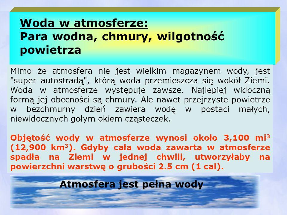Woda w atmosferze: Para wodna, chmury, wilgotność powietrza Atmosfera jest pełna wody Mimo że atmosfera nie jest wielkim magazynem wody, jest