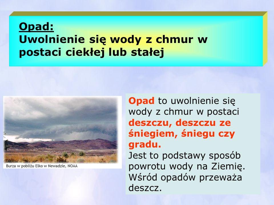 Opad: Uwolnienie się wody z chmur w postaci ciekłej lub stałej Opad to uwolnienie się wody z chmur w postaci deszczu, deszczu ze śniegiem, śniegu czy