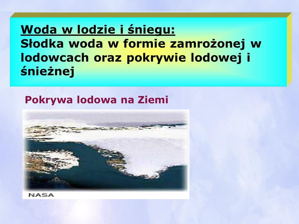 Woda w lodzie i śniegu: Słodka woda w formie zamrożonej w lodowcach oraz pokrywie lodowej i śnieżnej Pokrywa lodowa na Ziemi