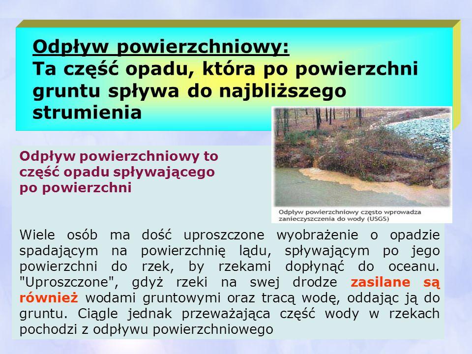Odpływ powierzchniowy: Ta część opadu, która po powierzchni gruntu spływa do najbliższego strumienia Odpływ powierzchniowy to część opadu spływającego