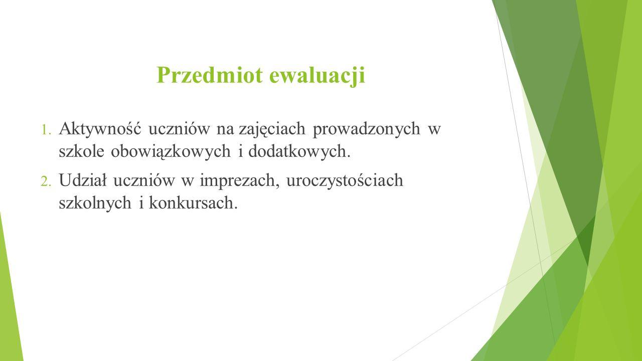 Przedmiot ewaluacji 1. Aktywność uczniów na zajęciach prowadzonych w szkole obowiązkowych i dodatkowych. 2. Udział uczniów w imprezach, uroczystościac