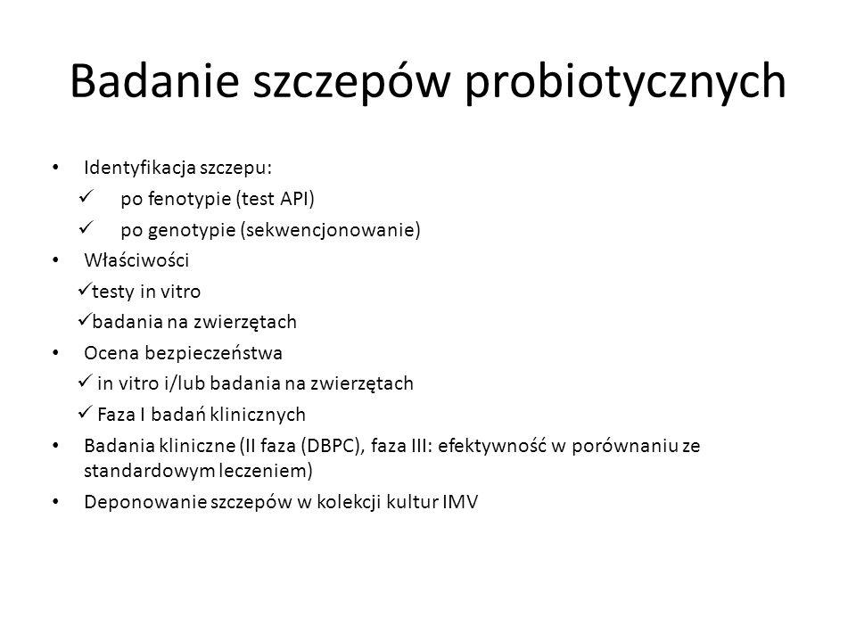 Badanie szczepów probiotycznych Identyfikacja szczepu: po fenotypie (test API) po genotypie (sekwencjonowanie) Właściwości testy in vitro badania na z