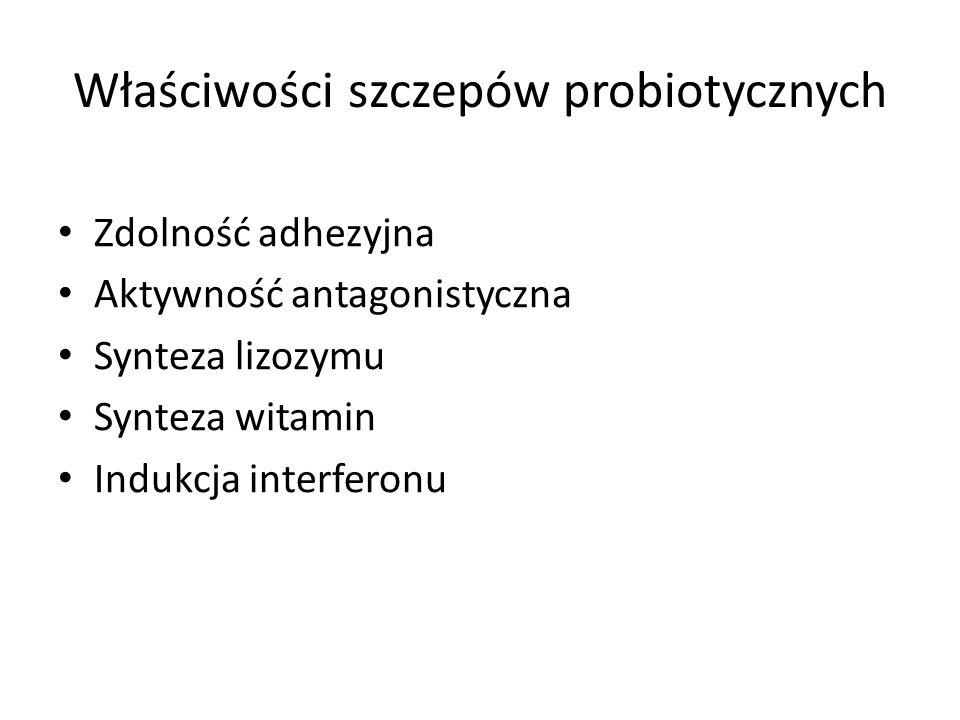 Właściwości szczepów probiotycznych Zdolność adhezyjna Aktywność antagonistyczna Synteza lizozymu Synteza witamin Indukcja interferonu