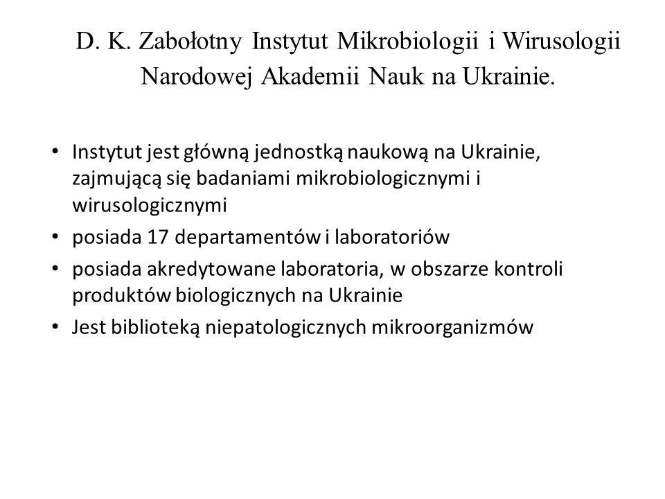 D. K. Zabołotny Instytut Mikrobiologii i Wirusologii Narodowej Akademii Nauk na Ukrainie. Instytut jest główną jednostką naukową na Ukrainie, zajmując