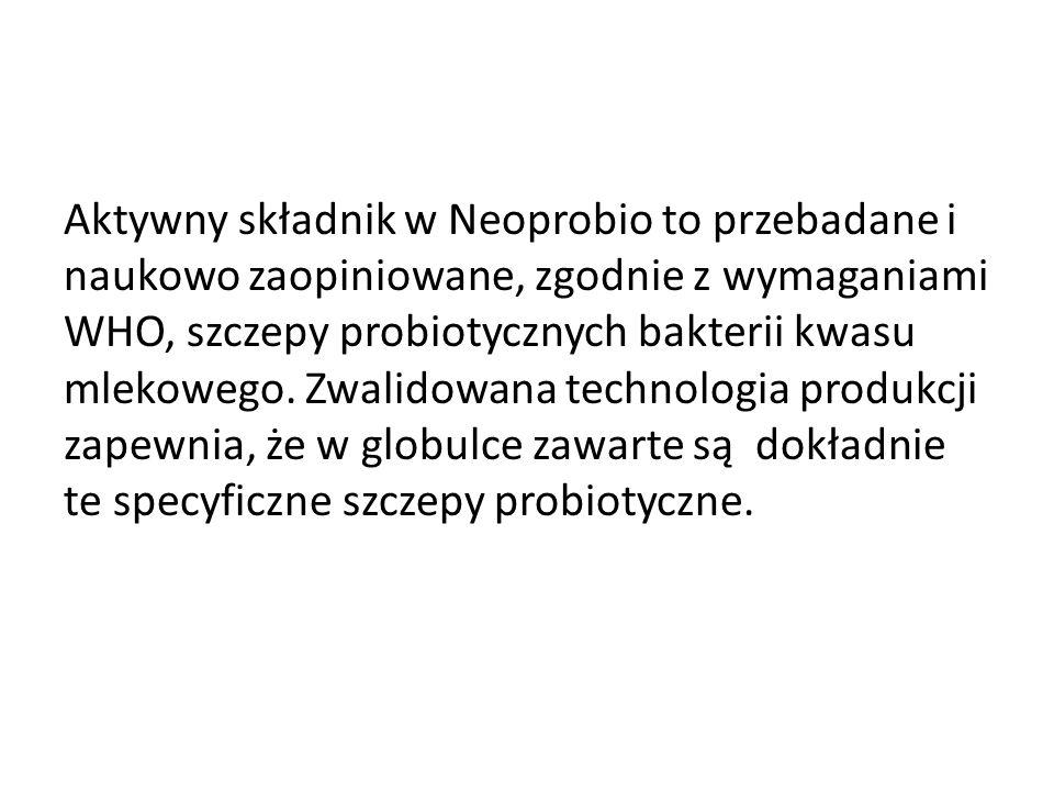 Aktywny składnik w Neoprobio to przebadane i naukowo zaopiniowane, zgodnie z wymaganiami WHO, szczepy probiotycznych bakterii kwasu mlekowego. Zwalido