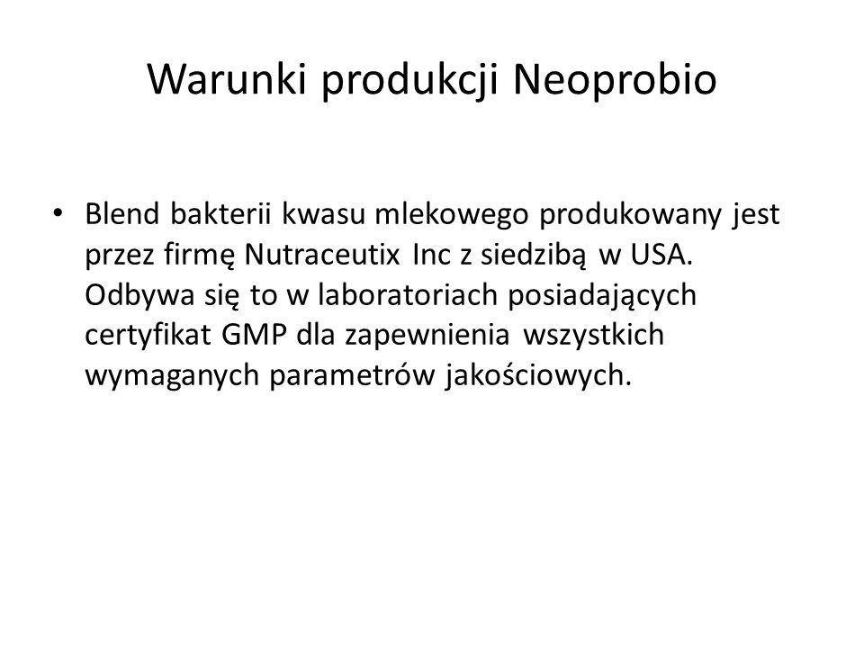 Warunki produkcji Neoprobio Blend bakterii kwasu mlekowego produkowany jest przez firmę Nutraceutix Inc z siedzibą w USA. Odbywa się to w laboratoriac