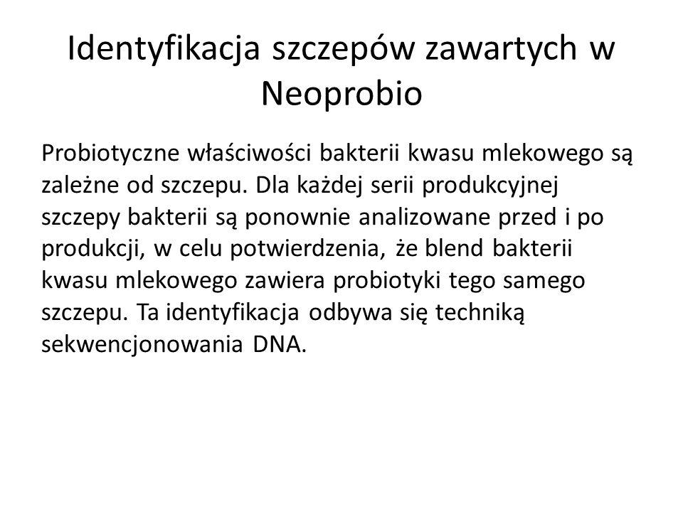 Identyfikacja szczepów zawartych w Neoprobio Probiotyczne właściwości bakterii kwasu mlekowego są zależne od szczepu. Dla każdej serii produkcyjnej sz