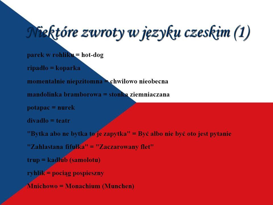 Niektóre zwroty w języku czeskim (1) parek w rohliku = hot-dog ripadło = koparka momentalnie niepzitomna = chwilowo nieobecna mandolinka bramborowa =