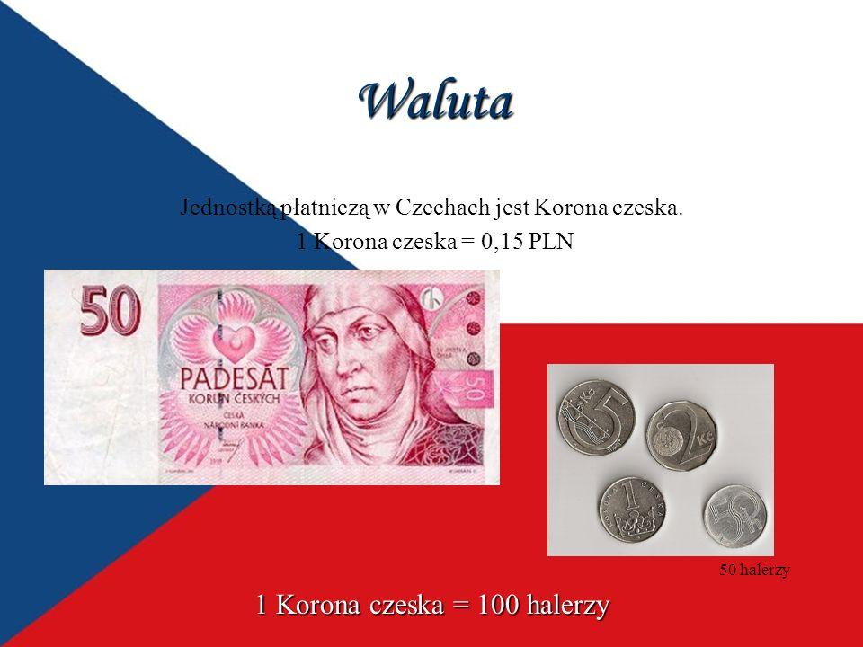 Waluta Jednostką płatniczą w Czechach jest Korona czeska. 1 Korona czeska = 0,15 PLN 1 Korona czeska = 100 halerzy 50 halerzy