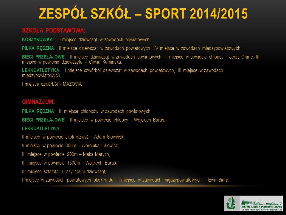 ZESPÓŁ SZKÓŁ – SPORT 2014/2015 SZKOŁA PODSTAWOWA: KOSZYKÓWKA : II miejsce dziewcząt w zawodach powiatowych.