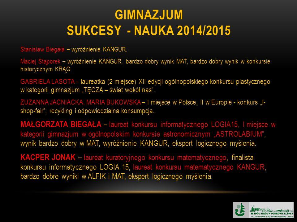 GIMNAZJUM SUKCESY - NAUKA 2014/2015 Stanisław Biegała – wyróżnienie KANGUR.