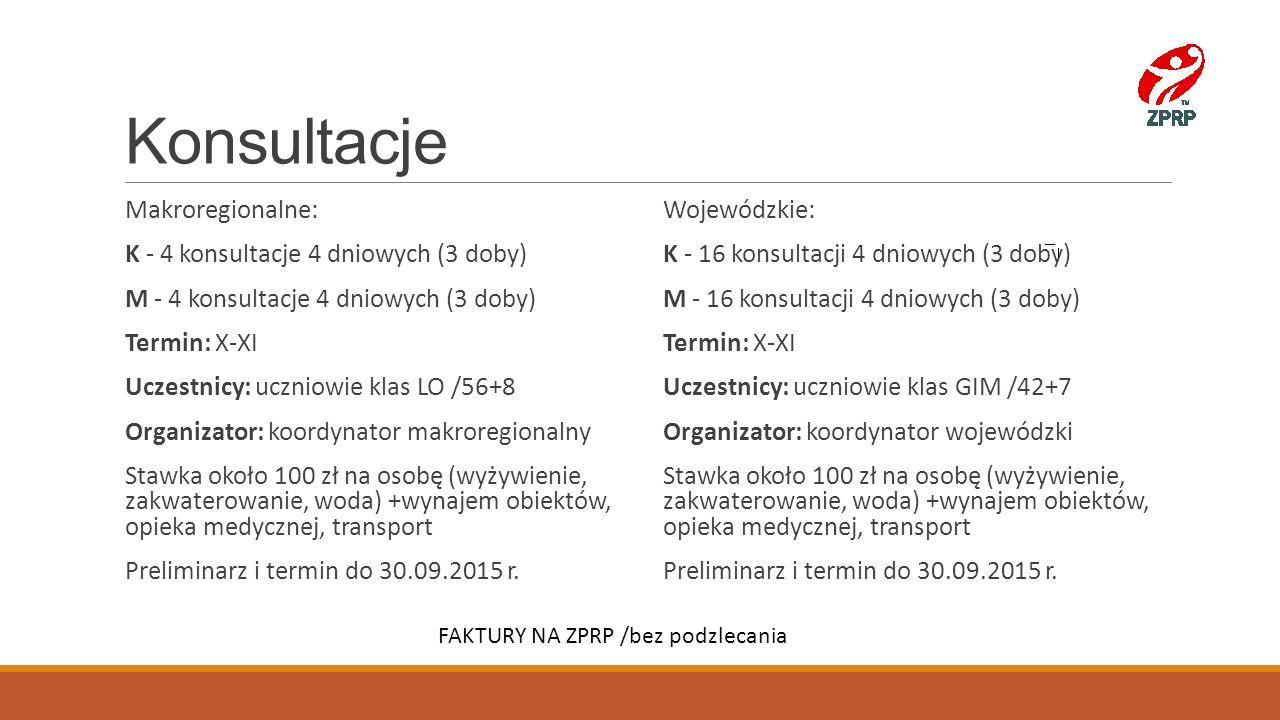 Konsultacje Makroregionalne: K - 4 konsultacje 4 dniowych (3 doby) M - 4 konsultacje 4 dniowych (3 doby) Termin: X-XI Uczestnicy: uczniowie klas LO /5