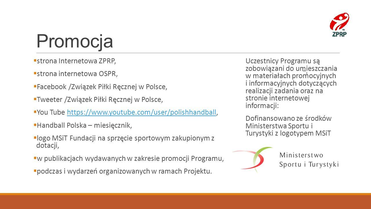 Promocja  strona Internetowa ZPRP,  strona internetowa OSPR,  Facebook /Związek Piłki Ręcznej w Polsce,  Tweeter /Związek Piłki Ręcznej w Polsce,
