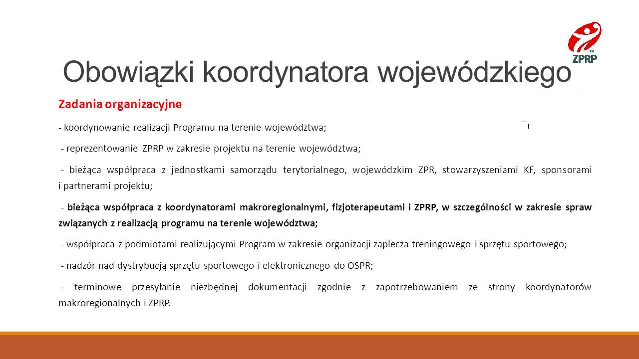 Obowiązki koordynatora wojewódzkiego Zadania organizacyjne - koordynowanie realizacji Programu na terenie województwa; - reprezentowanie ZPRP w zakres