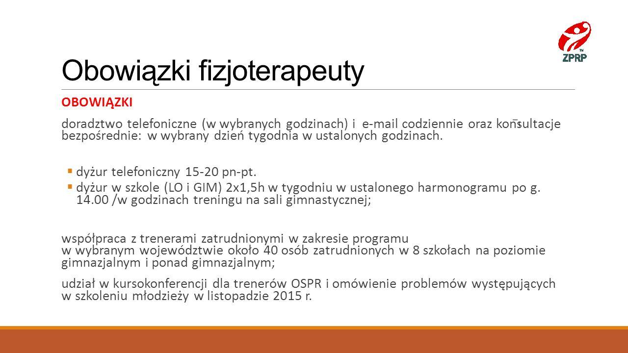 Obowiązki fizjoterapeuty OBOWIĄZKI doradztwo telefoniczne (w wybranych godzinach) i e-mail codziennie oraz konsultacje bezpośrednie: w wybrany dzień t